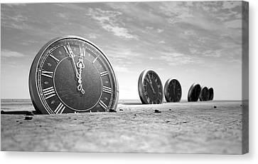 Antique Clocks In The Desert Sand Canvas Print by Allan Swart