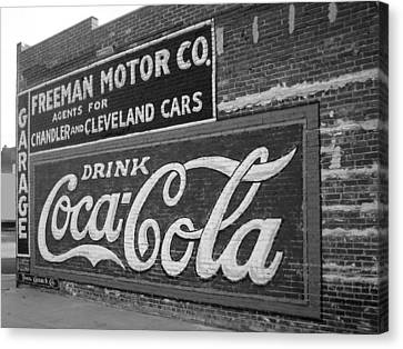 Antique Cola Sign Canvas Print by Ann Powell