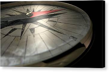 Antique Compass Closeup Canvas Print by Allan Swart