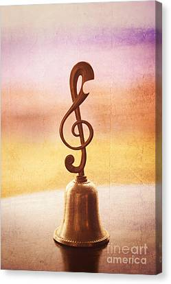 Antique Copper Handbell With G-clef Handle Canvas Print