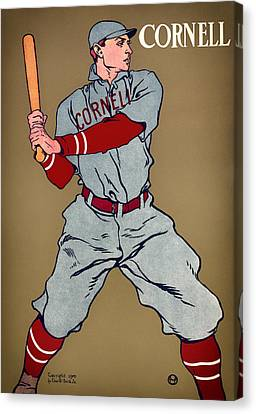 Baseball Uniform Canvas Print - Antique Cornell Baseball Poster 1908 by Mountain Dreams