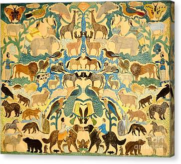 Antique Cutout Of Animals  Canvas Print by American School