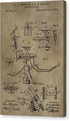 Antique Dental Chair Patent Canvas Print by Dan Sproul