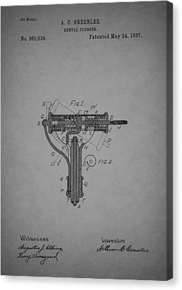 Antique Dental Plugger Patent 1887 Canvas Print