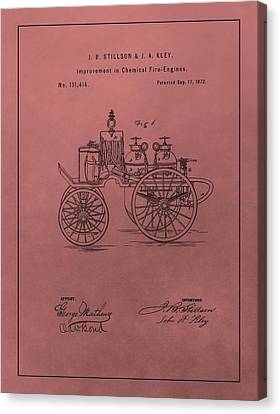 Antique Fire Engine Patent On Red Canvas Print by Dan Sproul