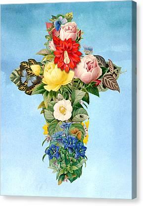 Antique Flower Cross Canvas Print by Gary Grayson