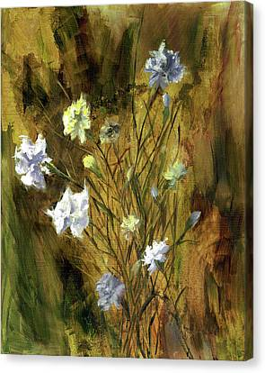 Canvas Print featuring the painting Antique Flowers by Vic  Mastis