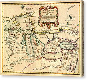 Antique French Map Of The Great Lakes 1755 Canvas Print by Mountain Dreams