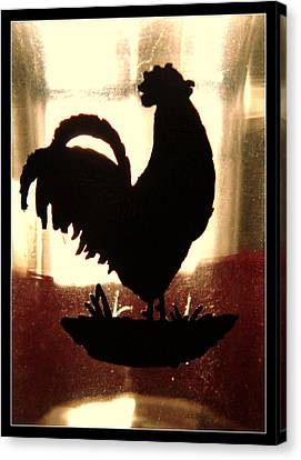 Antique Glass Chicken Silhouette Canvas Print by Kathy Barney