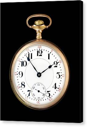 Antique Gold Pocketwatch Canvas Print by Jim Hughes