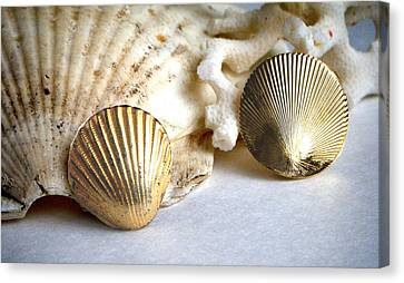 Antique Gold Sea Shell Style Earrings 2 Canvas Print by Bruce Iorio