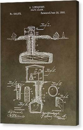 Antique Grave Alarm Patent Canvas Print