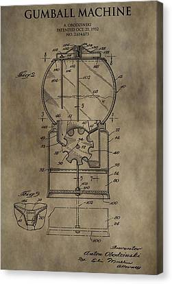 Spin Canvas Print - Antique Gumball Machine Patent by Dan Sproul