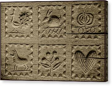 Antique Handcarved Wooden Butter Mold Press Canvas Print
