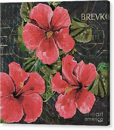 Antique Hibiscus Black 3 Canvas Print by Debbie DeWitt