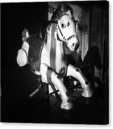 Antique Horse Bw Canvas Print by Patrick M Lynch