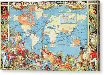 Antique Illustrated Map Of The World Canvas Print by Anonymous