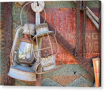 Antique Kerosene Lamps Canvas Print by Mary Lee Dereske