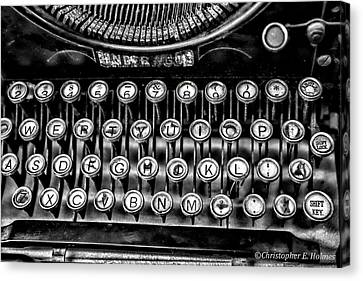 Antique Keyboard - Bw Canvas Print by Christopher Holmes