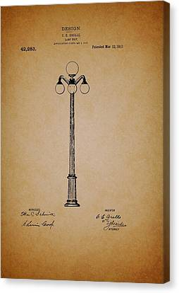 Lamp Post Canvas Print - Antique Lamp Post Patent by Mountain Dreams