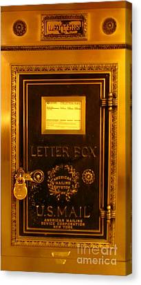 Antique Letter Box At The Brown Palace Hotel Canvas Print by John Malone