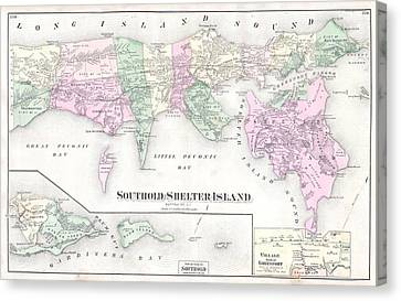 Antique Long Island Map Canvas Print by Dan Sproul