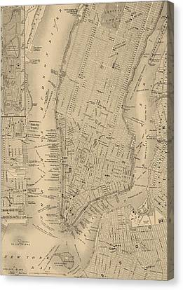 Antique Manhattan Map Canvas Print by Dan Sproul