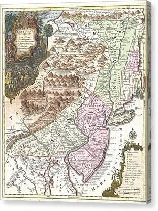 Antique Map 1756 Pennsylvania New York New Jersey Canvas Print