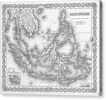 Antique Map 1855 East Indies Canvas Print by Dan Sproul