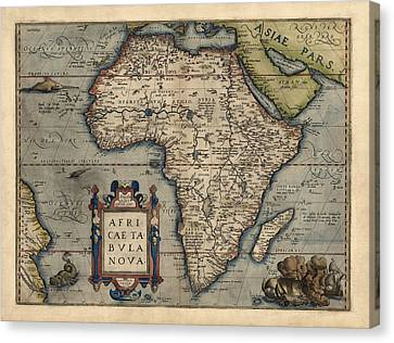 Antique Map Of Africa By Abraham Ortelius - 1570 Canvas Print by Blue Monocle
