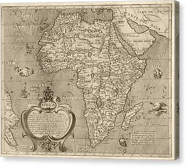 Antique Map Of Africa By Arnoldo Di Arnoldi - Circa 1600 Canvas Print by Blue Monocle