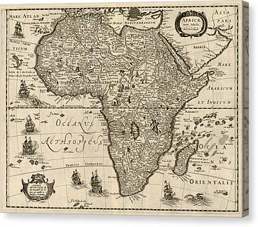 Old Canvas Print - Antique Map Of Africa By Jodocus Hondius - Circa 1640 by Blue Monocle
