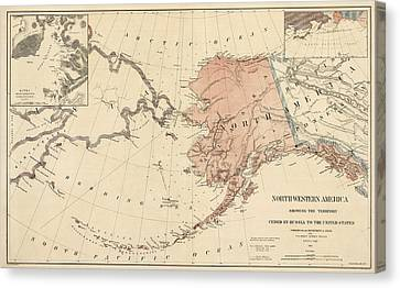 Old Canvas Print - Antique Map Of Alaska - 1867 by Blue Monocle