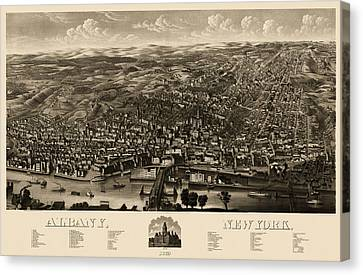 Antique Map Of Albany New York By H.h. Rowley And Co. - 1879 Canvas Print