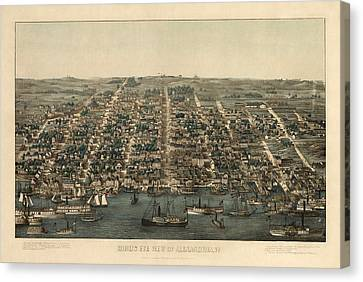 Old Canvas Print - Antique Map Of Alexandria Virginia By Charles Magnus - 1863 by Blue Monocle