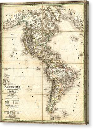 Antique Map Of Americas Canvas Print by Celestial Images