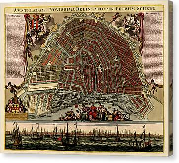 Antique Map Of Amsterdam By Pieter Schenk - Circa 1702 Canvas Print by Blue Monocle