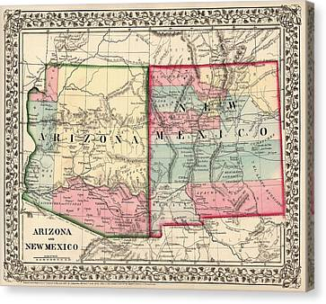 Antique Map Of Arizona And New Mexico By Samuel Augustus Mitchell - 1867 Canvas Print by Blue Monocle