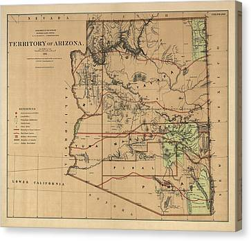 Antique Map Of Arizona By The U.s. General Land Office - 1876 Canvas Print by Blue Monocle