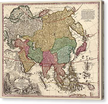Antique Map Of Asia By Johann Christoph Homann - Circa 1743 Canvas Print by Blue Monocle