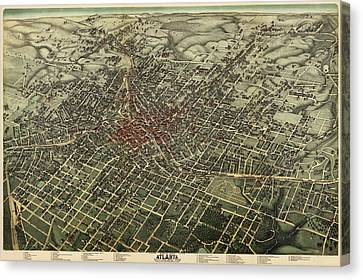 Antique Map Of Atlanta Georgia By Augustus Koch - 1892 Canvas Print by Blue Monocle