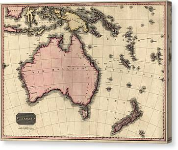 Oceania Canvas Print - Antique Map Of Australia And The Pacific Islands By John Pinkerton - 1818 by Blue Monocle