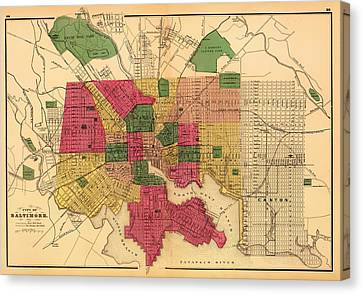 Antique Map Of Baltimore 1873 Canvas Print by Mountain Dreams