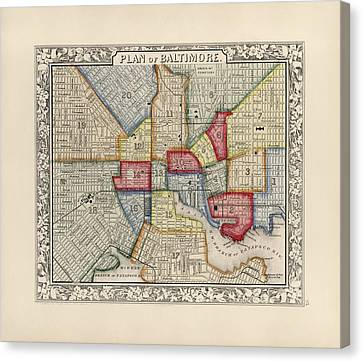 Antique Map Of Baltimore Maryland By Samuel Augustus Mitchell - 1863 Canvas Print