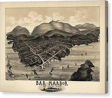 Antique Map Of Bar Harbor Maine By G. W. Morris - 1886 Canvas Print by Blue Monocle