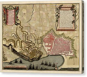Old Canvas Print - Antique Map Of Barcelona Spain By Anna Beeck - Circa 1706 by Blue Monocle