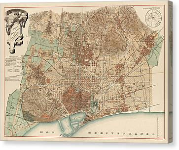 Old Canvas Print - Antique Map Of Barcelona Spain By D. J. M. Serra - 1891 by Blue Monocle