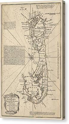 Antique Map Of Bermuda By Emanuel Bowen - 1750 Canvas Print