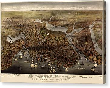 Old Canvas Print - Antique Map Of Boston By Currier And Ives - 1873 by Blue Monocle