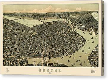 Antique Map Of Boston Massachusetts By A.e. Downs - Circa 1899 Canvas Print